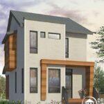 Plano de casa con fachada moderna de 87 m2