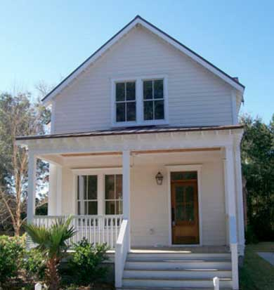 Plano de casa tradicional con estilo americano de 3 for Fachadas de casas estilo americano