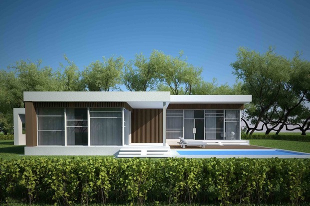 Plano de casa moderna con 3 dormitorios y piscina for Casa moderna 5 dormitorios
