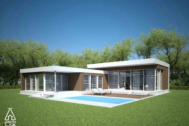 Plano de casa moderna con 3 dormitorios y piscina for Casa minimalista de un piso