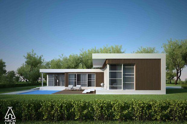 Plano de casa moderna con 3 dormitorios y piscina for Casa moderna 11
