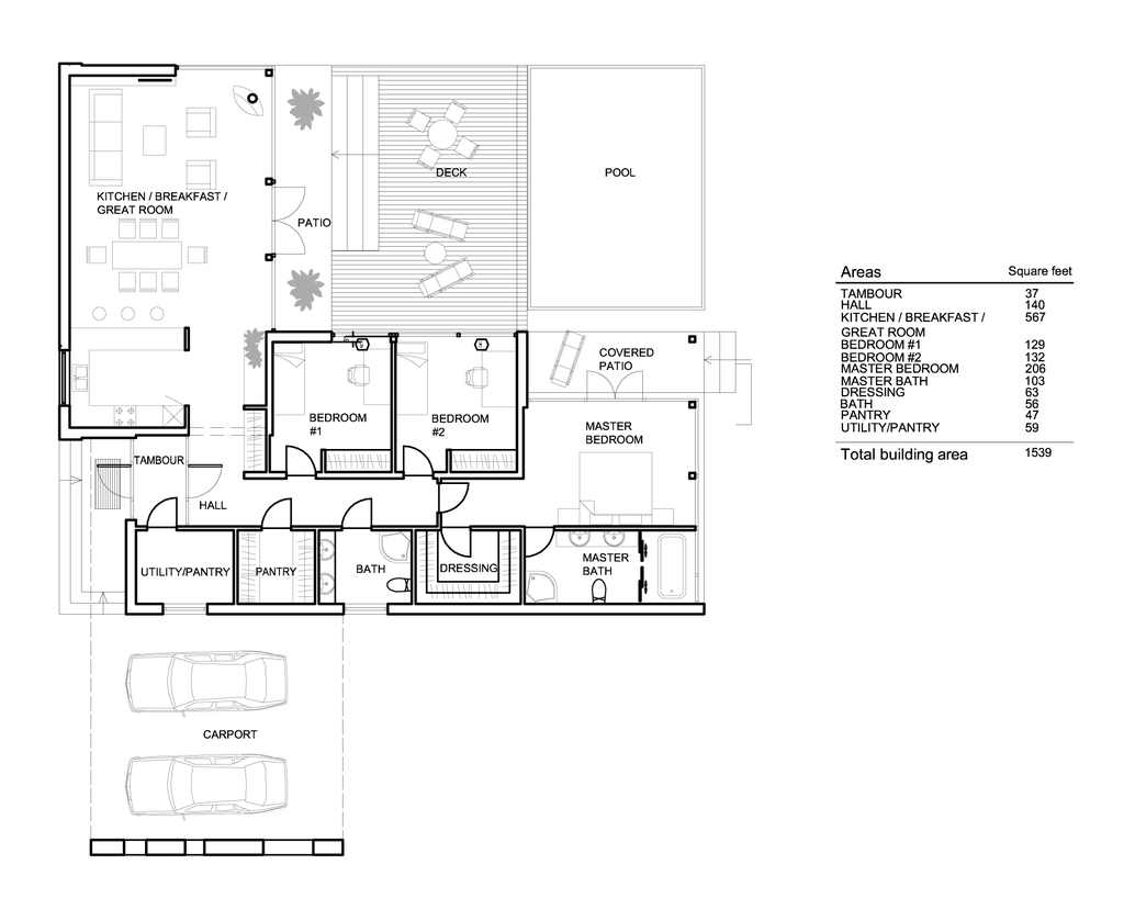 Plano de casa moderna con 3 dormitorios y piscina for Casa con planos completos