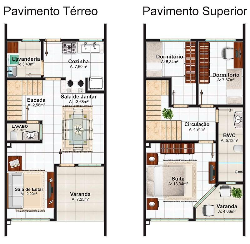 Plano De Linda Casa De 2 Pisos 3 Dormitorios Y 106 M2