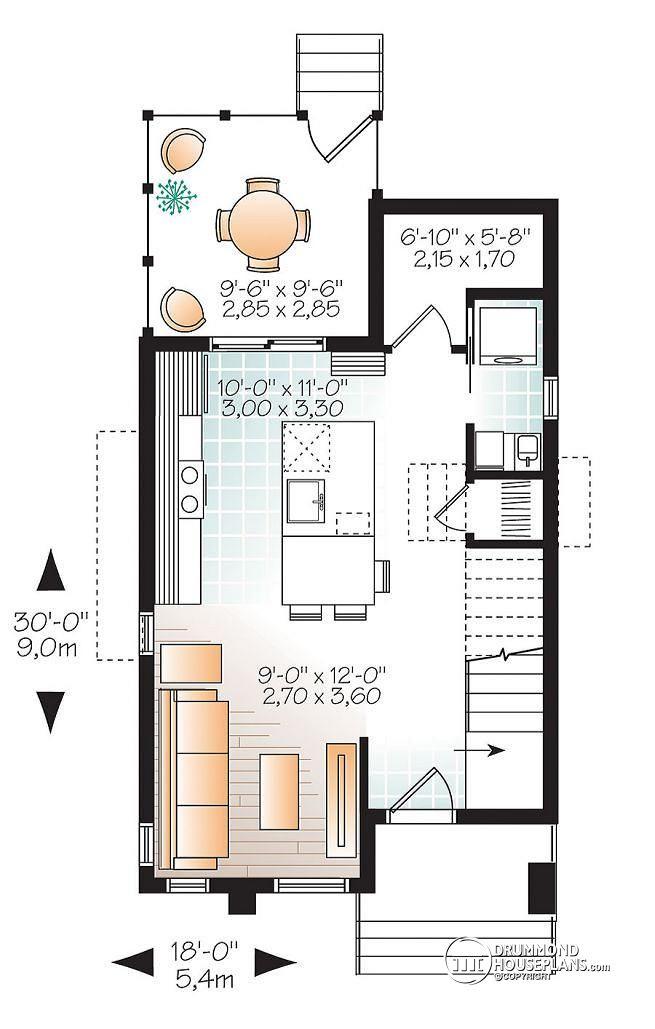 Plano de casa con fachada moderna de 87 m2 for Tiny house open floor plan