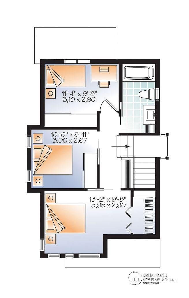 Plano de casa con fachada moderna de 87 m2 for Plano casa un piso