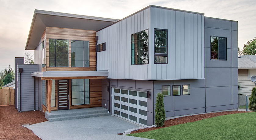 Moderno plano de casa de dos pisos con garaje for Fachadas pisos modernas
