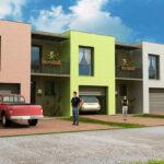 Plano de casa de 2 pisos con garaje y 3 dormitorios