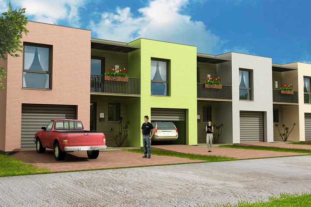 Plano de casa de 2 pisos con garaje y 3 dormitorios for Townhouse construction cost