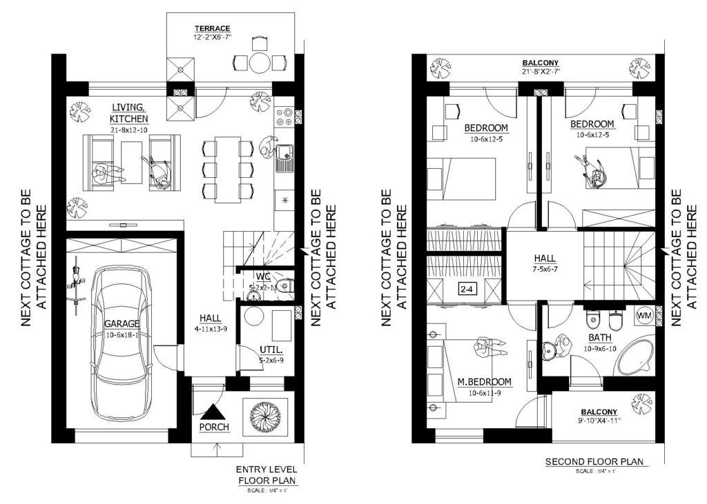 Plano de casa del primer piso y segundo de esta casa de dos niveles pareada. (Para ver en tamaño completo haga clic en la foto).