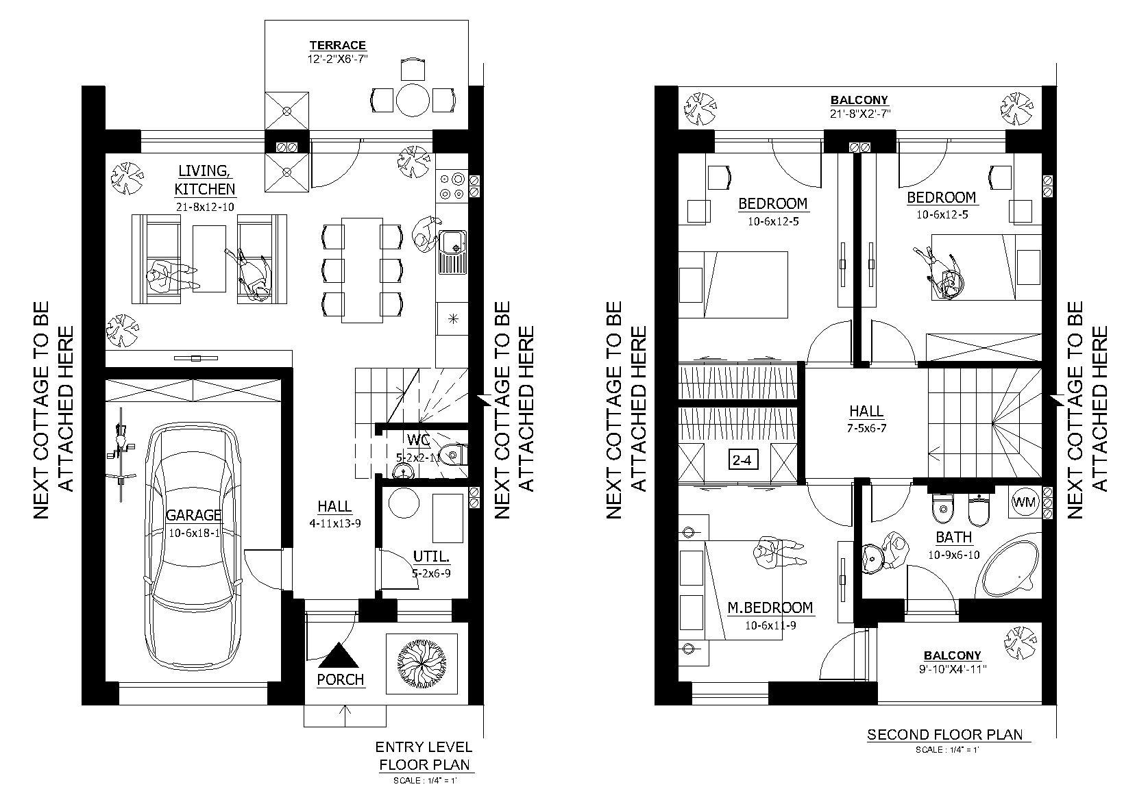 Plano de casa de 2 pisos con garaje y 3 dormitorios for Planos de casas de 3 pisos