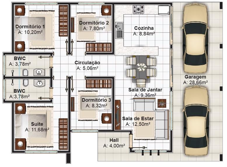 Plano de casa grande con 4 dormitorios y 131 62 m2 for Planos de casas de un piso gratis