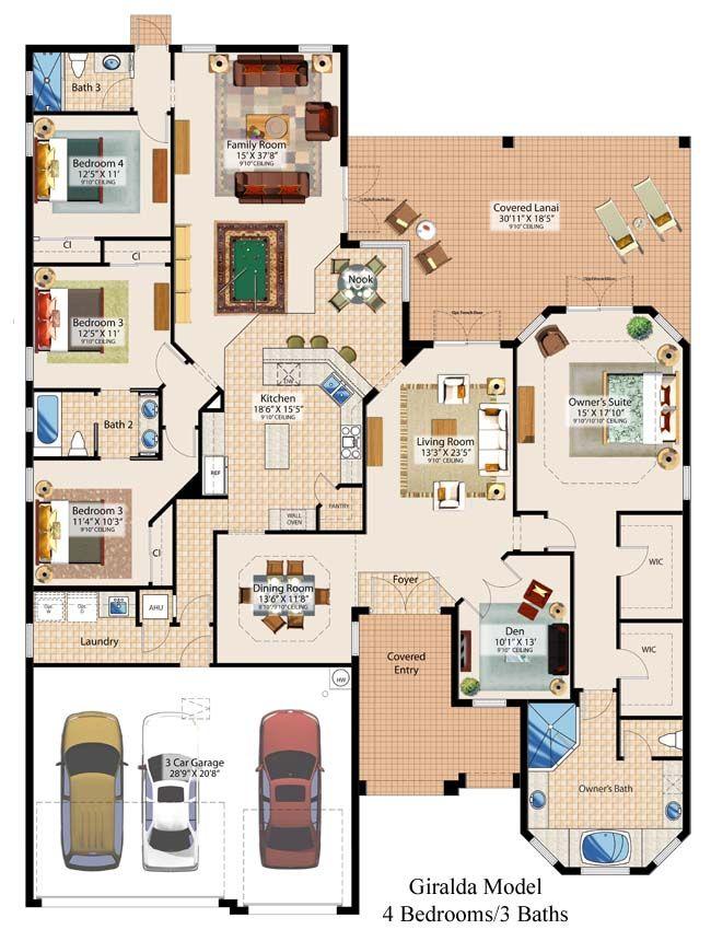 Plano de casa con 4 habitaciones y 3 ba os for Planos de casas rusticas gratis