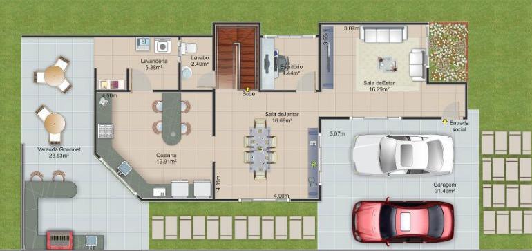Plano de casa lujoso de 2 pisos y 237m2 for Casas modernas de 70m2