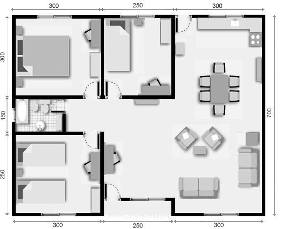 planos de casas 3 dormitorios