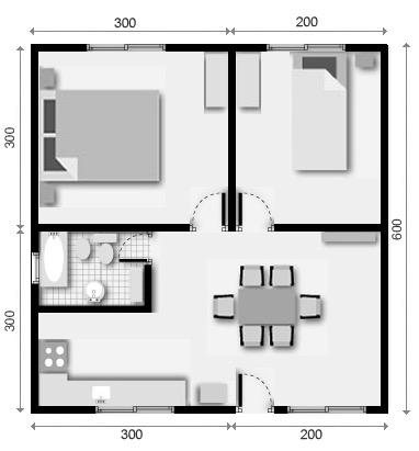 10 planos de casas de 1 2 y 3 dormitorios for Planos planos de casas