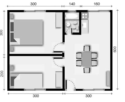 10 planos de casas de 1 2 y 3 dormitorios for Plano departamento 2 dormitorios