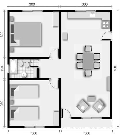 10 planos de casas de 1 2 y 3 dormitorios for Planos de casas de dos dormitorios