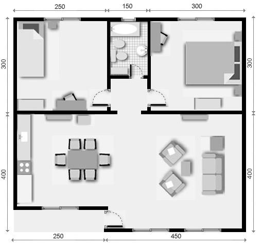 10 planos de casas de 1 2 y 3 dormitorios for Ver planos de casas pequenas