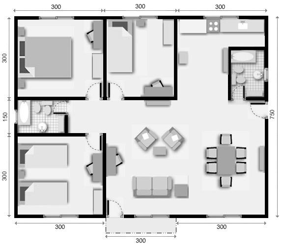 10 planos de casas de 1 2 y 3 dormitorios for Modelos de casas de 3 dormitorios
