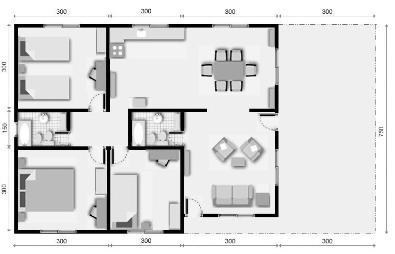 10 planos de casas de 1 2 y 3 dormitorios for Casa de 2 plantas y 3 habitaciones