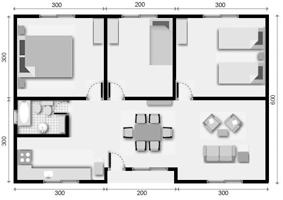10 planos de casas de 1 2 y 3 dormitorios for Planos de casas de campo de 3 dormitorios