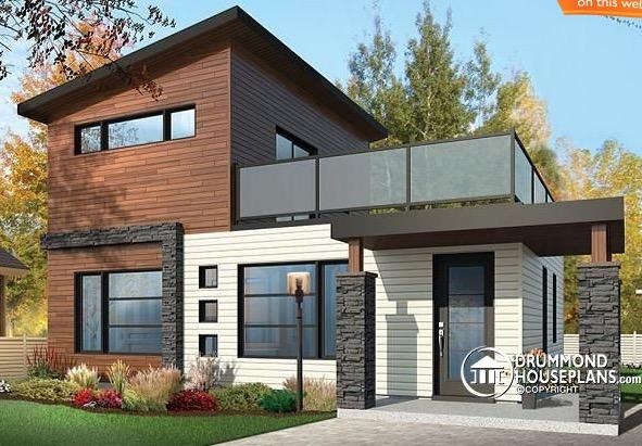 Plano De Casa Con 86 M2 De 2 Pisos Y 2 Dormitorios