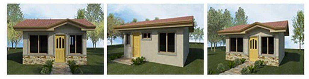 Peque o plano de casa con 2 dormitorios de 36m2 for Ver fachadas de casas