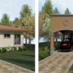 Plano de casa de 110 m2 con 3 dormitorios