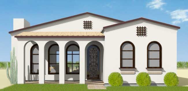 Plano de casa grande con estilo mediterr neo de 2 dormitorios for Fachada casa clasica
