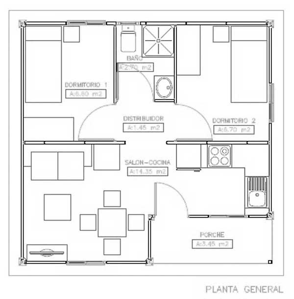 Plano De Vivienda De 37 M2 Con 2 Dormitorios