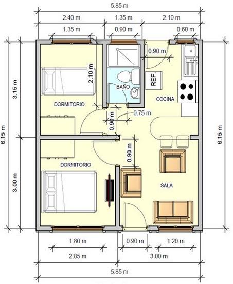 Peque o plano de casa con 2 dormitorios 36m2 for Creador de planos sencillos para viviendas y locales