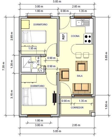 Tradicional plano de casa de 43 5 m2 con 2 dormitorios for Ver planos de casas de un piso