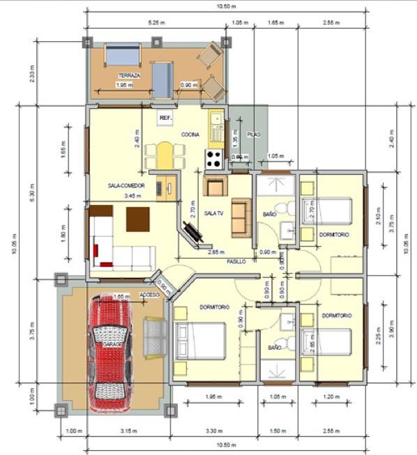 Plano de casa de 110 m2 con 3 dormitorios for Planos para construccion casas pequenas