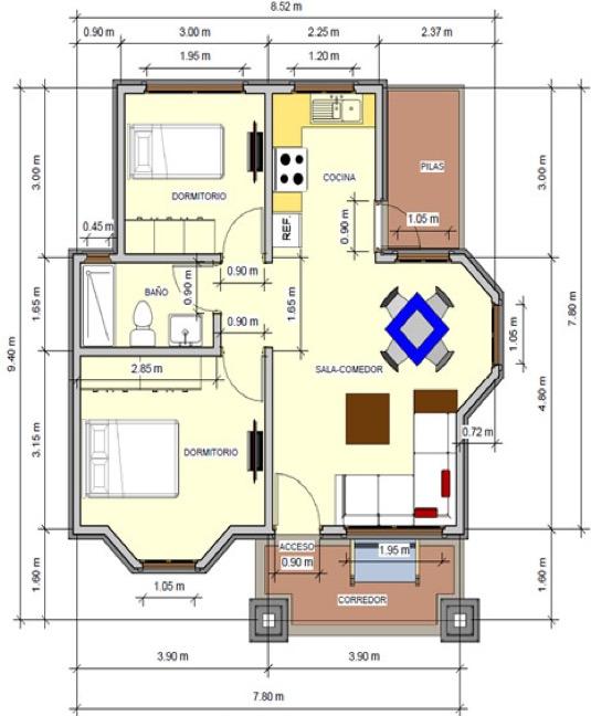 planos de casas de dos pisos de 72 metros cuadrados