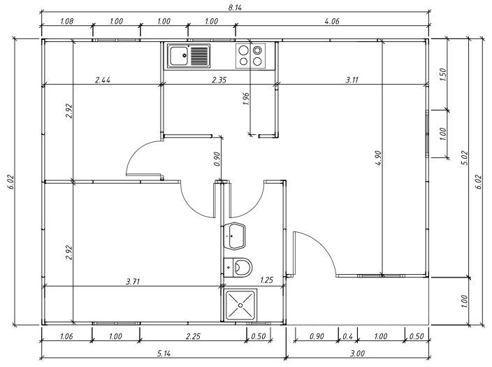 plano de casa prefabricad 50 m2