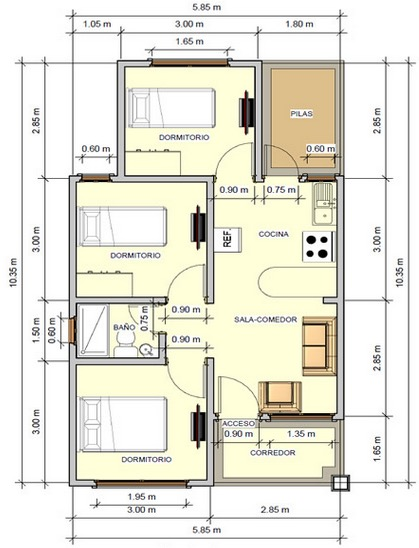 Plano de casa con buena distribuci n de 59 m2 con 3 for Como hacer un plano de una cocina