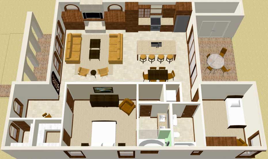 Plano de casa grande con estilo mediterr neo de 2 dormitorios for Estilos de apartamentos