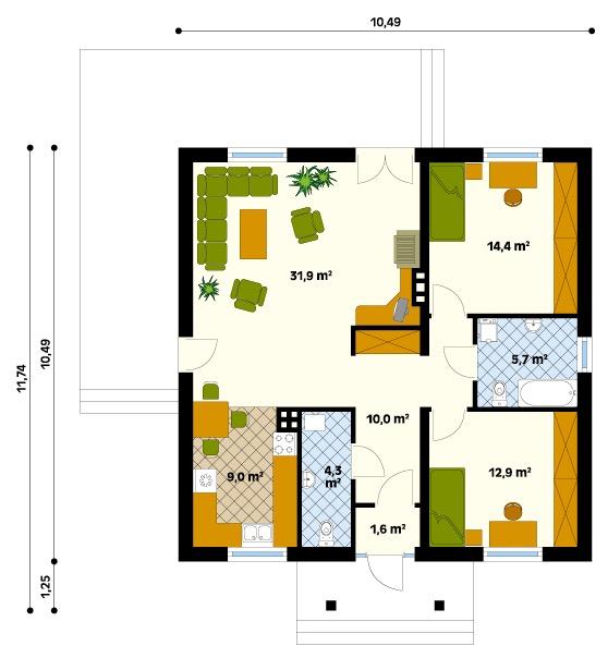 Plano de casa de campo con 110 m2 y 2 dormitorios for Planos de casas 9 x 10