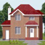 Plano de casa de dos pisos con  76.5 m2