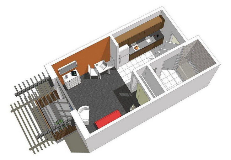 10 departamentos de dise o y planos peque os for Small apartment layout plans