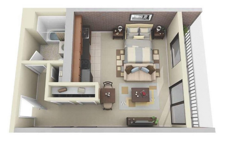 10 departamentos de dise o y planos peque os for Diseno de apartamento de una habitacion