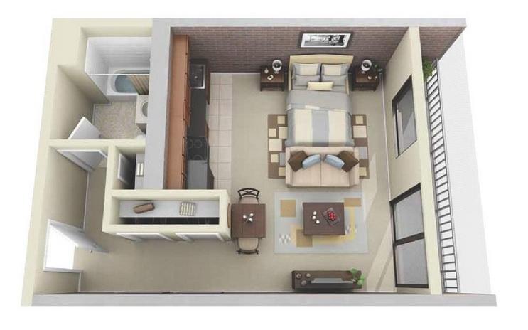 10 departamentos de dise o y planos peque os for Apartamentos de diseno pequenos
