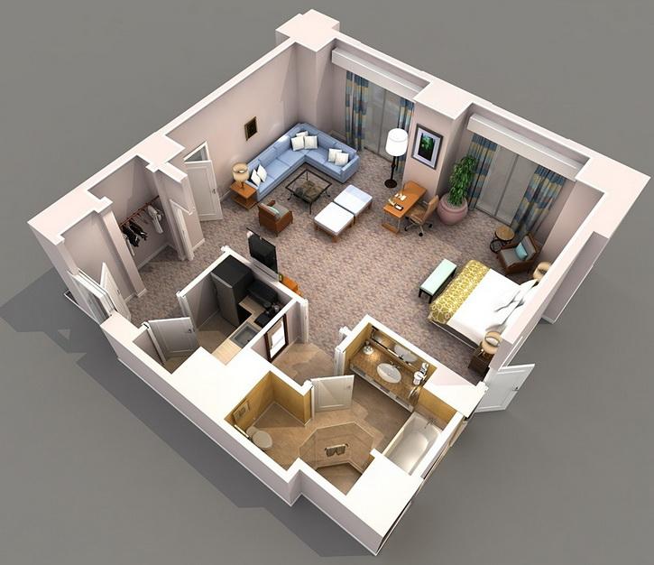 10 departamentos de dise o y planos peque os for Plano departamento 2 dormitorios