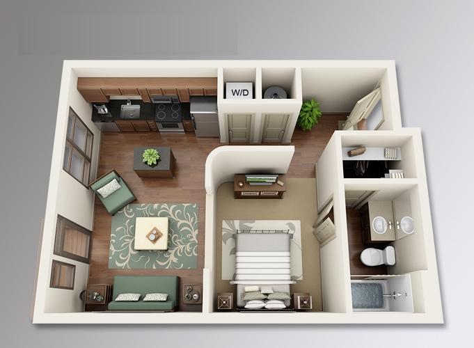 10 departamentos de dise o y planos peque os for Disenos de departamentos pequenos modernos