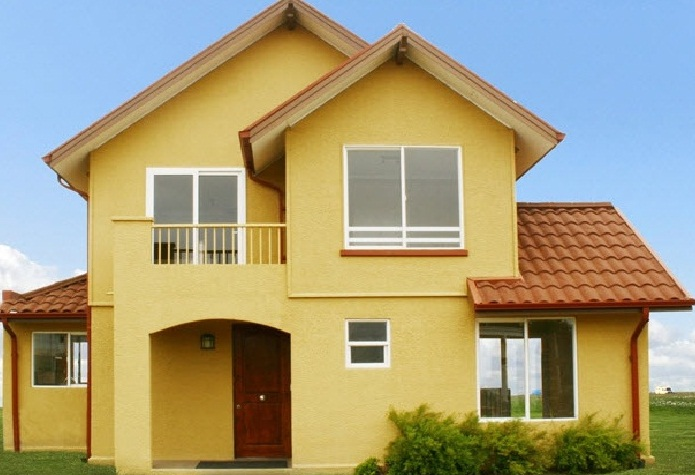 Plano de atractiva casa de dos pisos 110 m2 for Fachadas de casas pequenas de 2 pisos