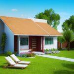 Plano de casa estilo mediterráneo de 66 m2 con 2 dormitorios