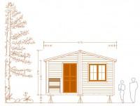 vista frontal cabana casa plano de casa