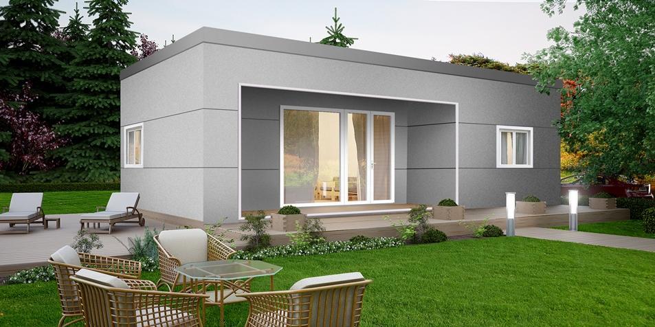 Plano de casa econ mica de hormig n celular 63m2 for Disenos y planos de casas prefabricadas