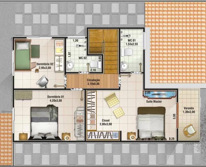 Plano de casa de 158m2 3 dormitorios y 2 pisos Planos de segundo piso