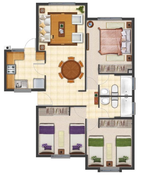 Nuevo plano de casa proyecto de 63 m2 for Plantas de casas de un piso
